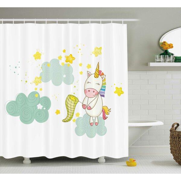 Axel Fairies Print Shower Curtain by Harriet Bee