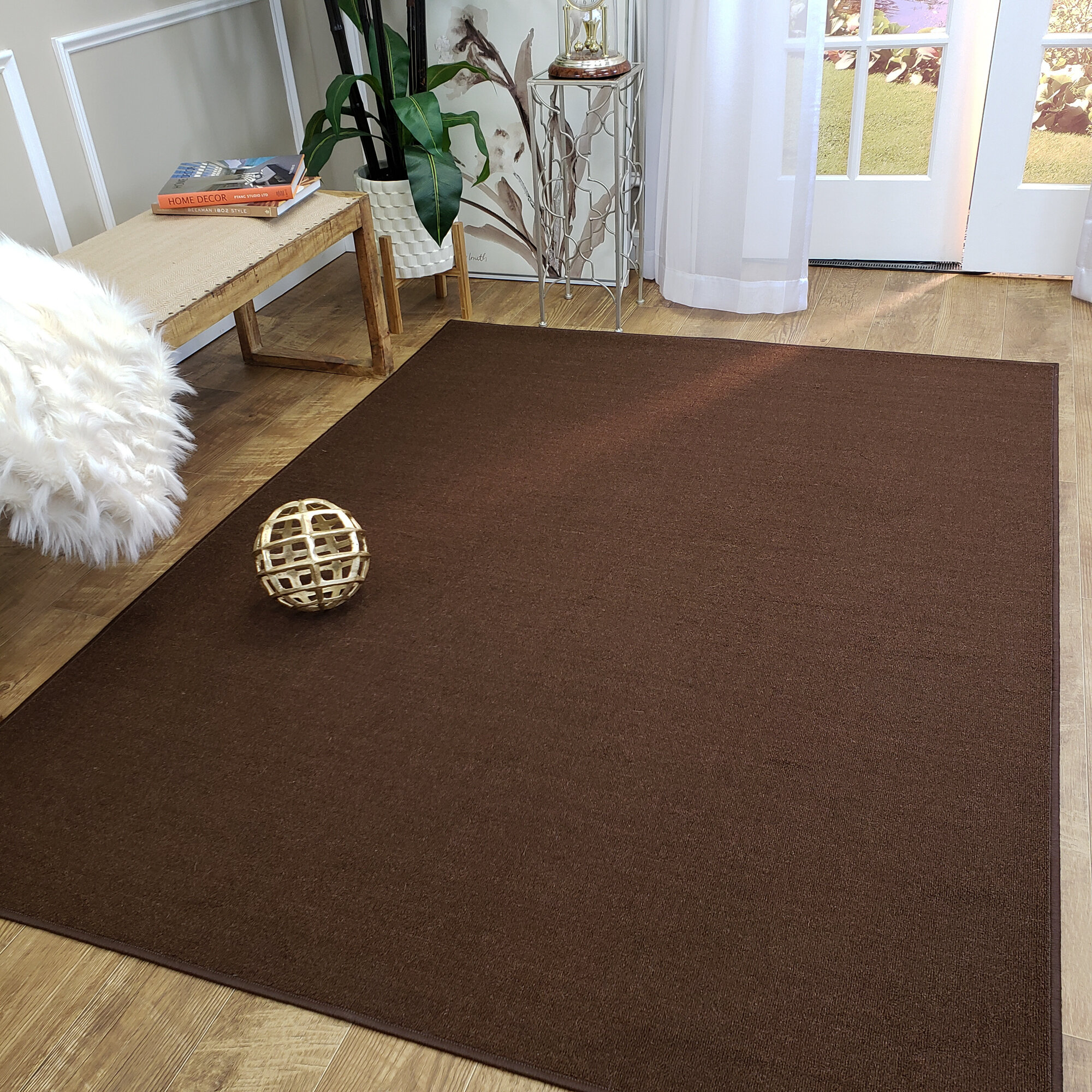 Karlee Solid Plain Brown Area Rug