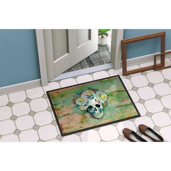 Skull with Flowers Indoor/Outdoor Doormat by East Urban Home