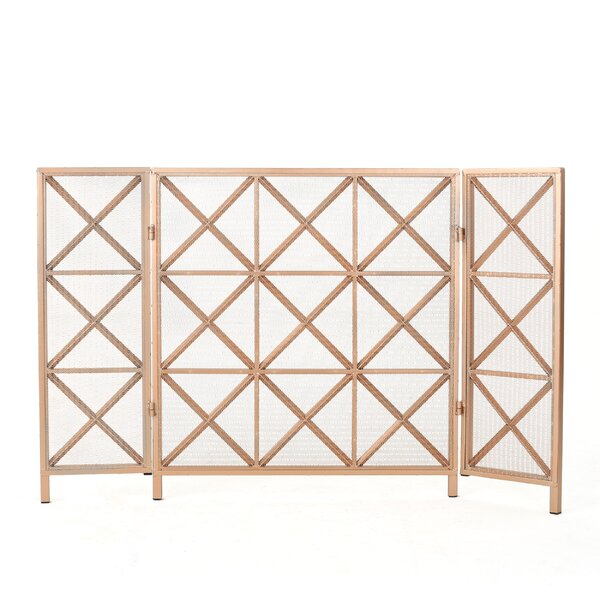 Pritchard 3 Panel Iron Fireplace Screen by Winston Porter
