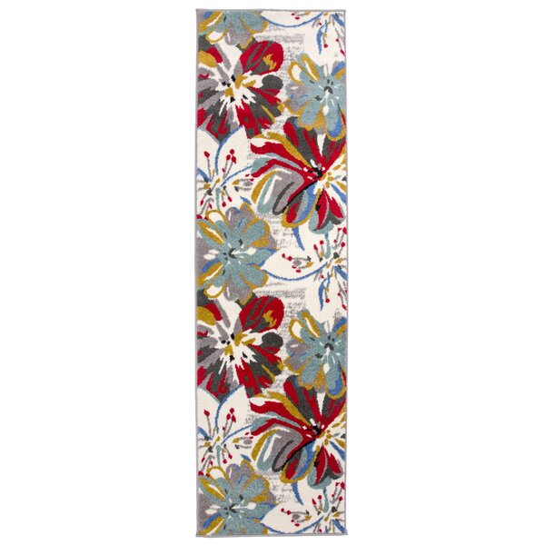 Carlisle Contemporary Floral Blue/Cream Area Rug by Ebern Designs