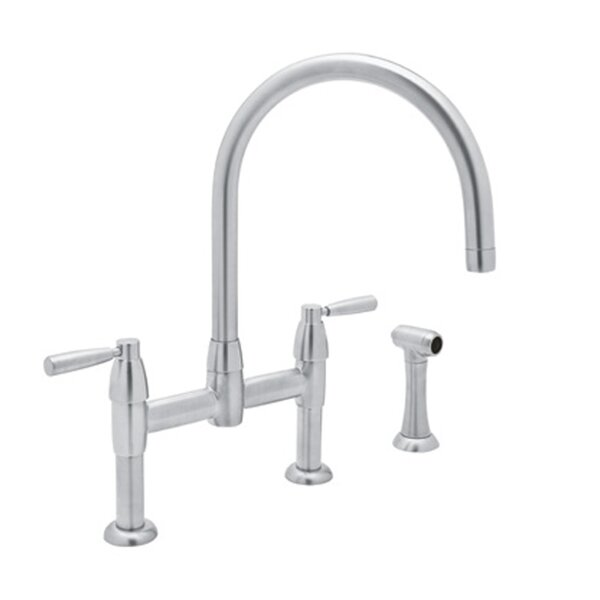 Perrin & Rowe® Holborn™ Bridge Kitchen Faucet With Sidespray with Lever Handles in English Bronze