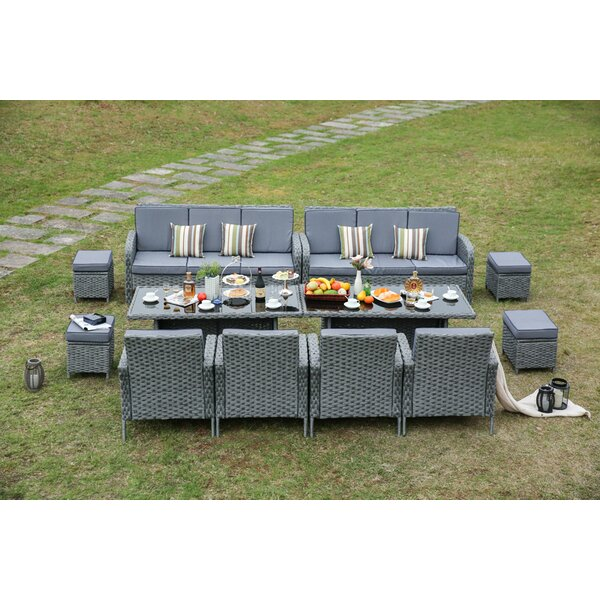 Sallie 12 Piece Dining Set with Cushions