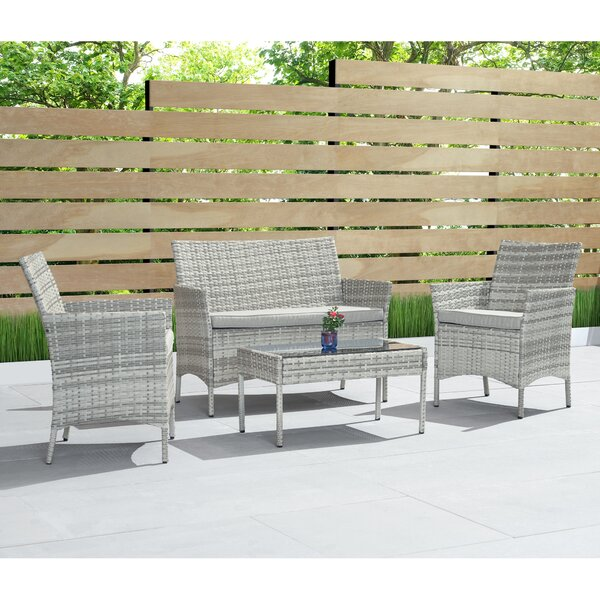 Osblek 4 Piece Sofa Seating Group with Cushions by Wrought Studio
