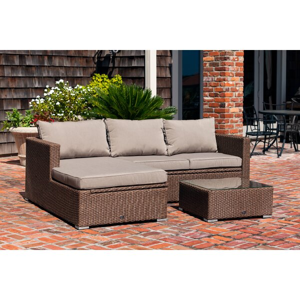 Tristano 3 Piece Rattan Sofa Seating Group with Cushions by PatioSense PatioSense