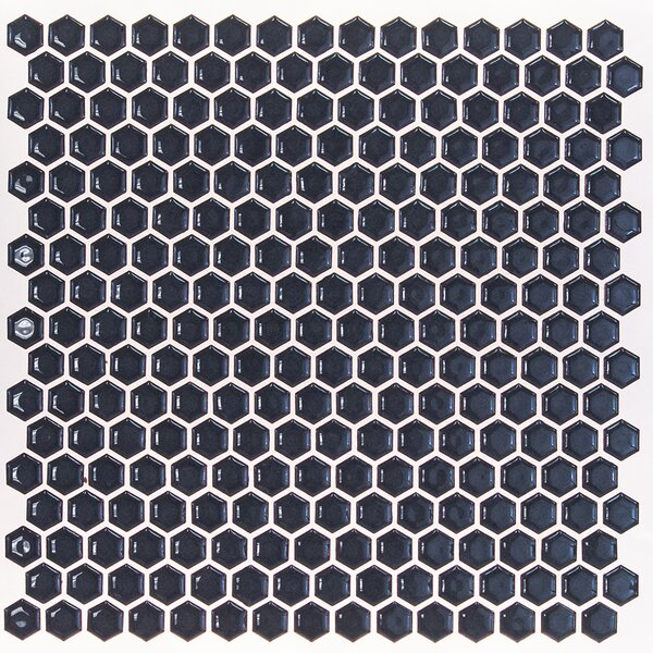 Bliss 0.6 x 0.6 Ceramic Mosaic Tile in Midnight Blue by Splashback Tile