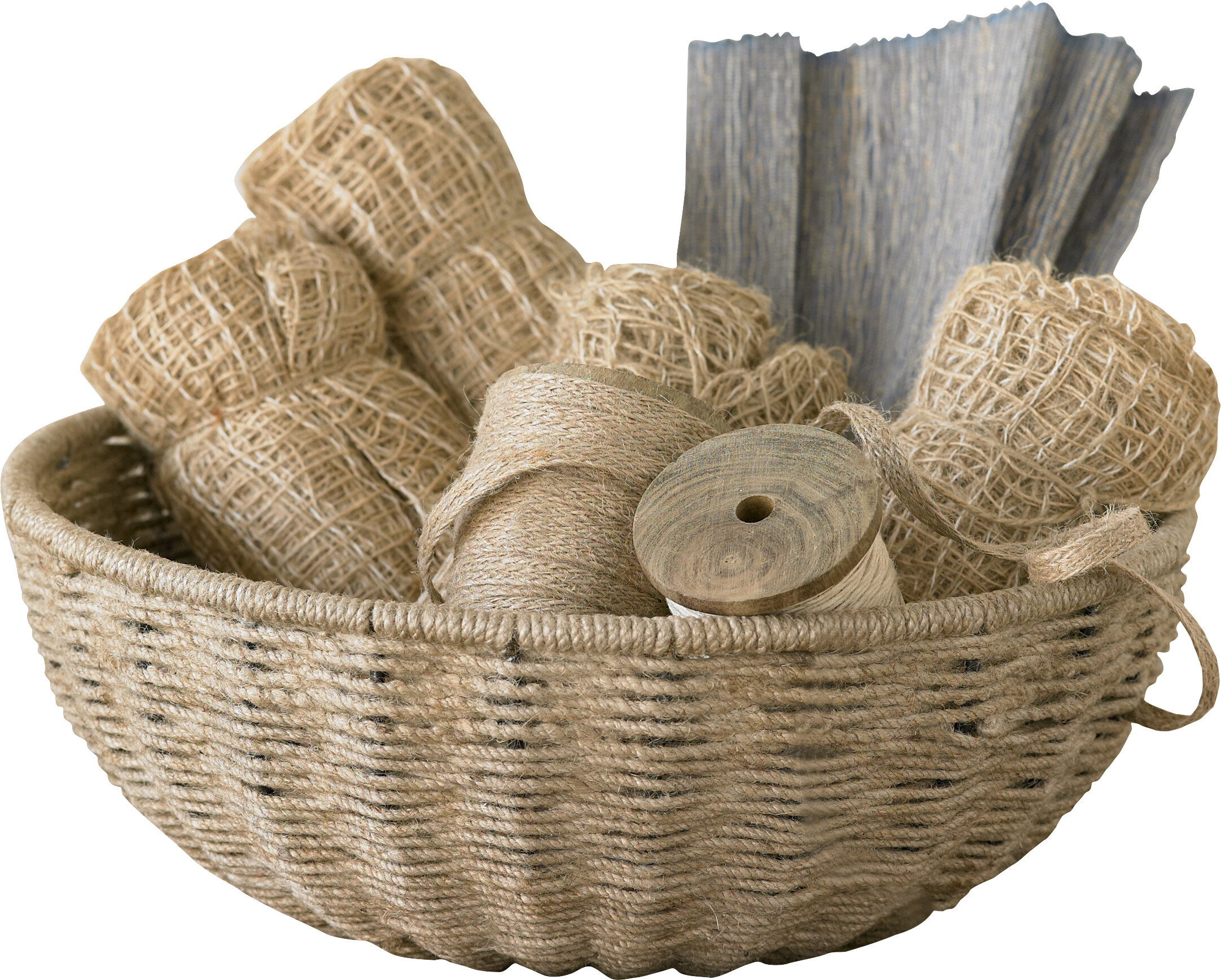 Woven Jute Rope Basket With Iron Frame