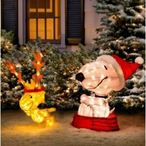 decorative peanuts soft tinsel snoopy with woodstock christmas yard art - Snoopy Christmas Lights