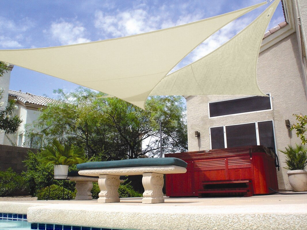 Coolaroo 12 39 triangle shade sail reviews wayfair for Shade sail cost