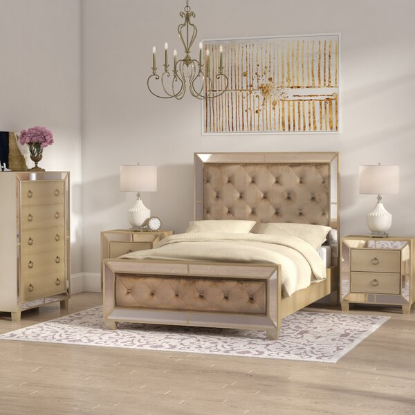 Alasdair Mirrored Tufted Platform 4 Piece Bedroom Set by Willa Arlo Interiors