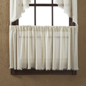 Francoise Cloth Natural Fringed Tier Curtain (Set of 2)