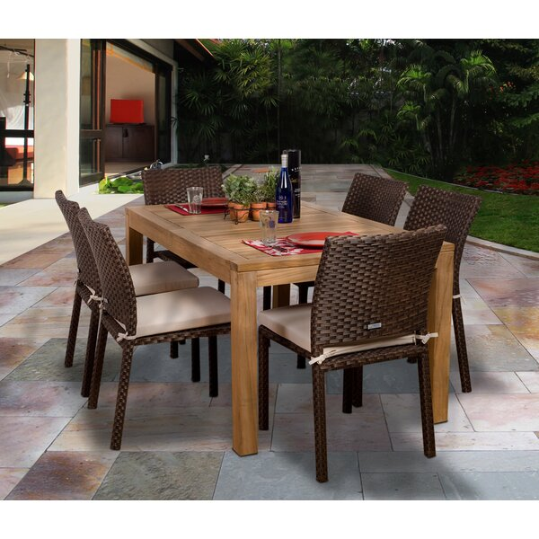 Arango 7 Piece Dining Set with Cushions by Beachcrest Home