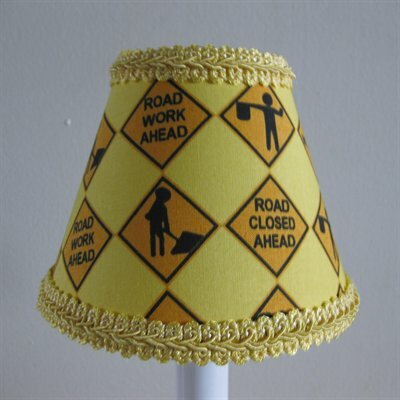 Construction Worker 7 H Fabric Empire Lamp shade ( Screw on ) in Yellow/Orange