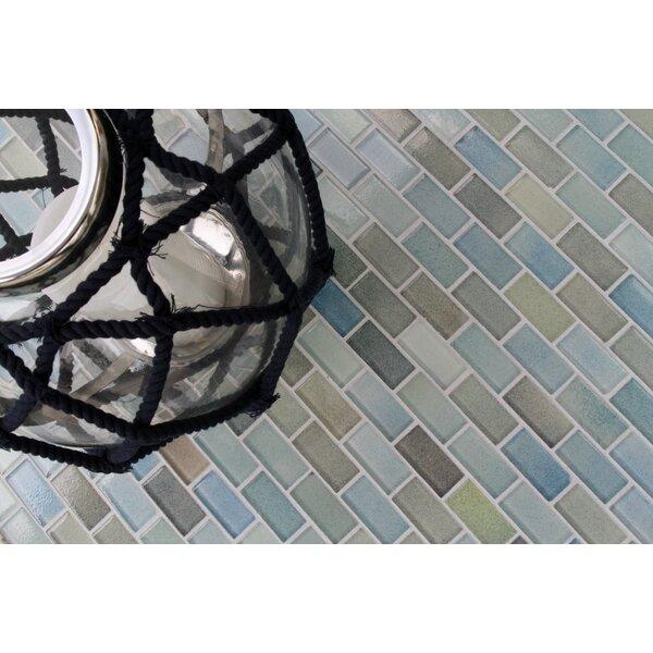 Hi-Fi Offset Brick 1 x 2 Glass Mosaic Tile in Powdered Blue/Sea Green/Beige by Kellani