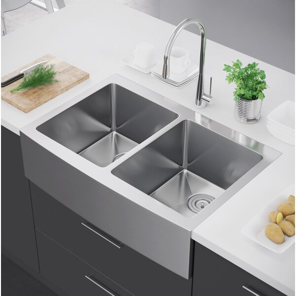 33 L x 22 W Double Bowl Farmhouse Kitchen Sink with Strainer by Exclusive Heritage