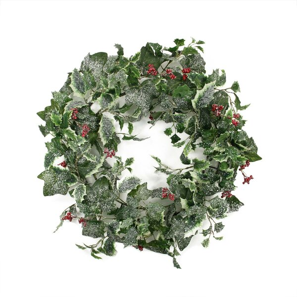 Frosted Holly Berry and Ivy Artificial Christmas Wreath by Tori Home