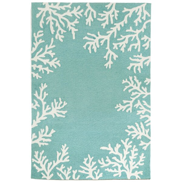 Claycomb Coral Border Hand-Tufted Aqua Indoor/Outdoor Area Rug by Highland Dunes