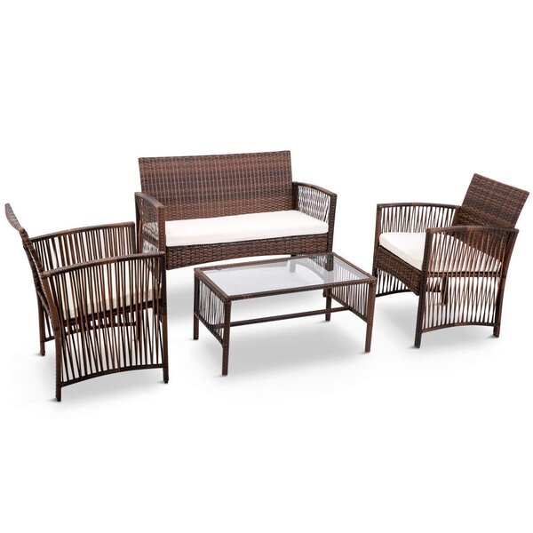 Abasi Patio 4 Piece Rattan Sofa Seating Group with Cushions by Bay Isle Home