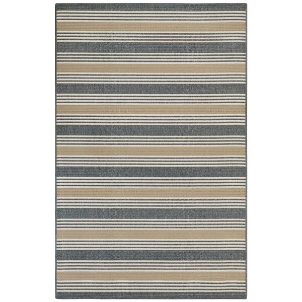 Roby Stripe Blue/Gray Indoor/Outdoor Area Rug by Breakwater Bay