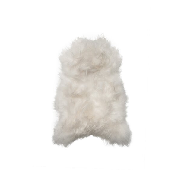 Hansley Long-Haired Hand-Woven Sheepskin White Area Rug by House of Hampton
