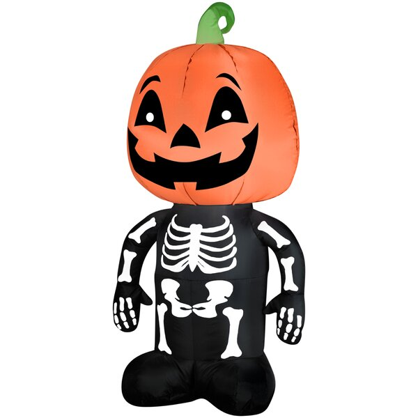 Pumpkin Boy Skeleton Airblown Halloween Inflatable by Gemmy Industries