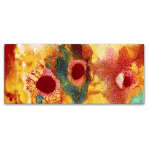 Abstract Red Daisies Panoramic by Amy Vangsgard Painting Print on Wrapped Canvas by Trademark Fine Art