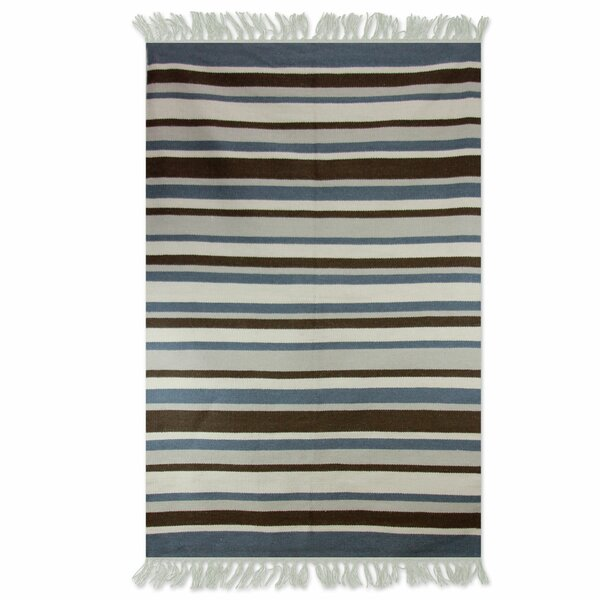 Handmade Gray/Blue Area Rug by Novica