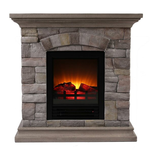 Ozzie Portable Faux Stone Electric Fireplace by Millwood Pines Millwood Pines