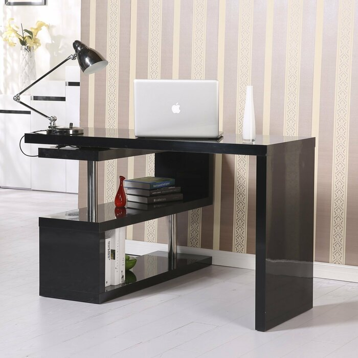 ca only desk office storage desks wood home table black workstation shelf with drawer computer online laptop product shelves en homcom