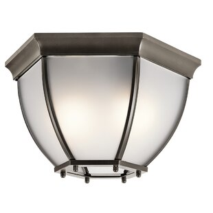 Reviews Sonoma 2-Light Outdoor Flush Mount By Loon Peak