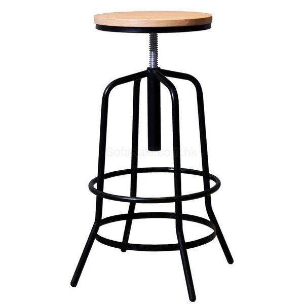 Garin Adjustable Height Swivel Bar Stool by 17 Stories