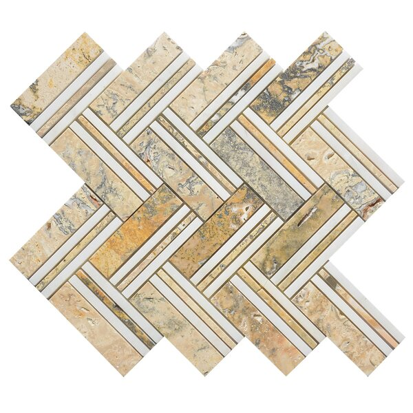 Quilt Moore Random Sized Marble Mosaic Tile in White/Yellow by Matrix Stone USA