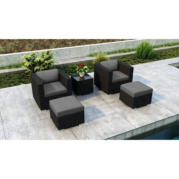 Glendale 5 Piece Conversation Set Sunbrella Seating Group with Cushions by Everly Quinn Everly Quinn