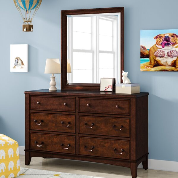Virginia 6 Drawer Double Dresser with Mirror by Grovelane Teen