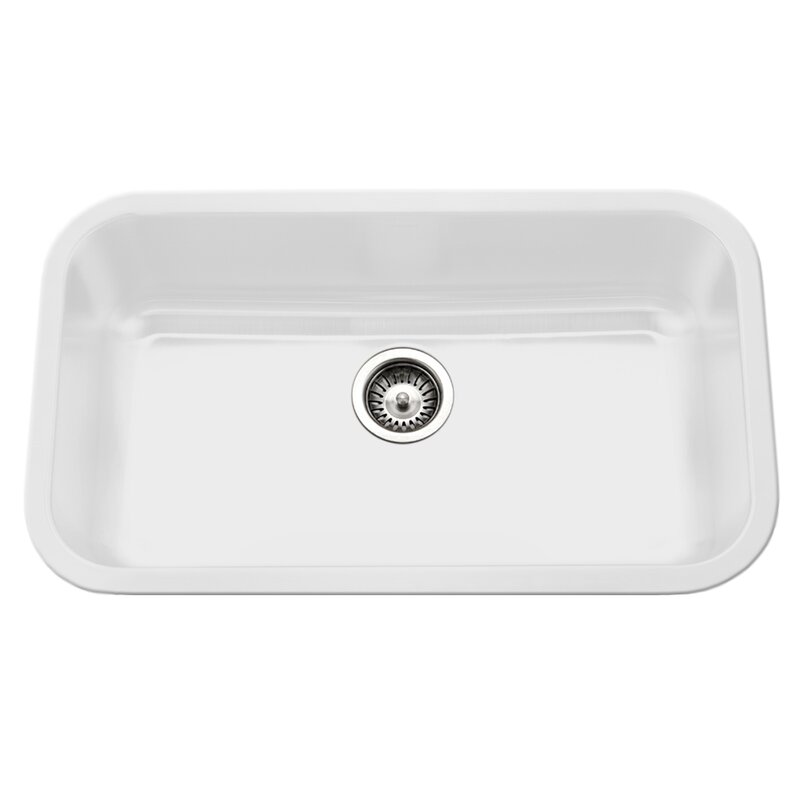 Porcela 30 9 L X 17 32 W Porcelain Enamel Steel Gourmet Undermount Single Kitchen Sink