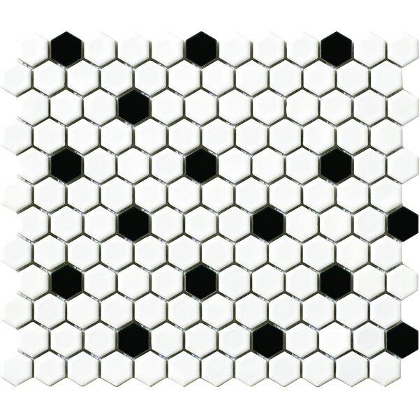 Vintage 1 x 1 Porcelain Mosaic Tile in White/Black Hexagon by Walkon Tile
