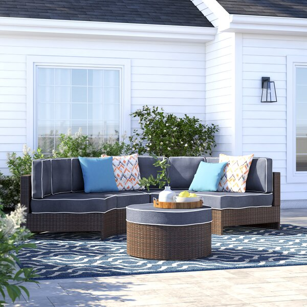 Bermuda 5 Piece Rattan Sectional Seating Group with Cushions by Sol 72 Outdoor