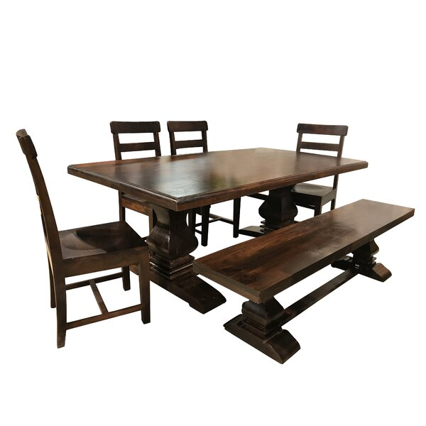Aguirre 7 Piece Solid Wood Dining Set by Longshore Tides