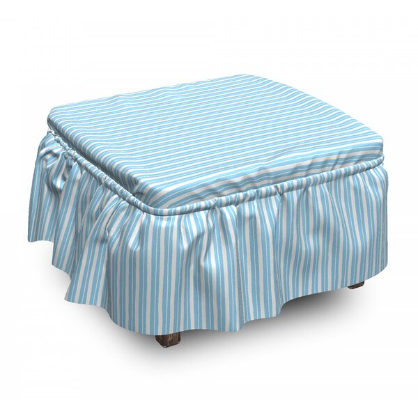 Uneven Crooked Wide Lines Ottoman Slipcover (Set Of 2) By East Urban Home