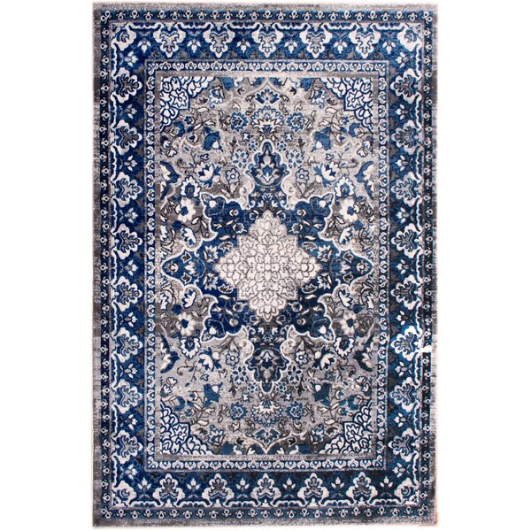 Rosie Traditional Distressed Gray/Blue Area Rug by Bungalow Rose