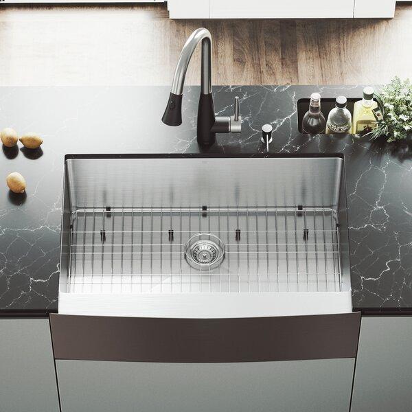 33 L x 22.25 W Farmhouse Apron Single Bowl 16 Gauge Stainless Steel Kitchen Sink with Faucet by VIGO