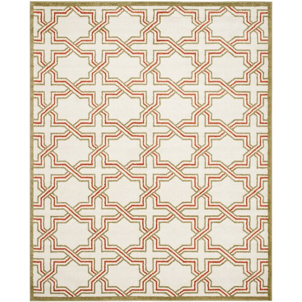 McArthur Ivory/Light Green Outdoor Area Rug by Beachcrest Home