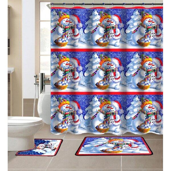 Zackary 3 Piece Shower Curtain Set + Hooks