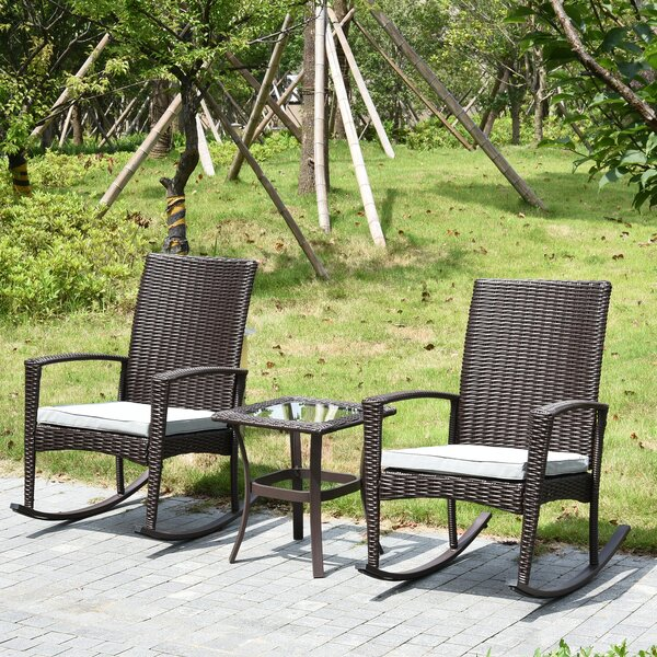 Capel Patio Furniture Rocking Chair with Cushions by Breakwater Bay