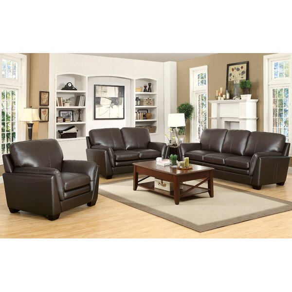 Whitstran 3 Piece Leather Living Room Set by Darby Home Co