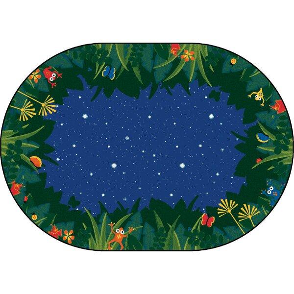 Emerado Peaceful Tropical Night Blue Area Rug by Zoomie Kids