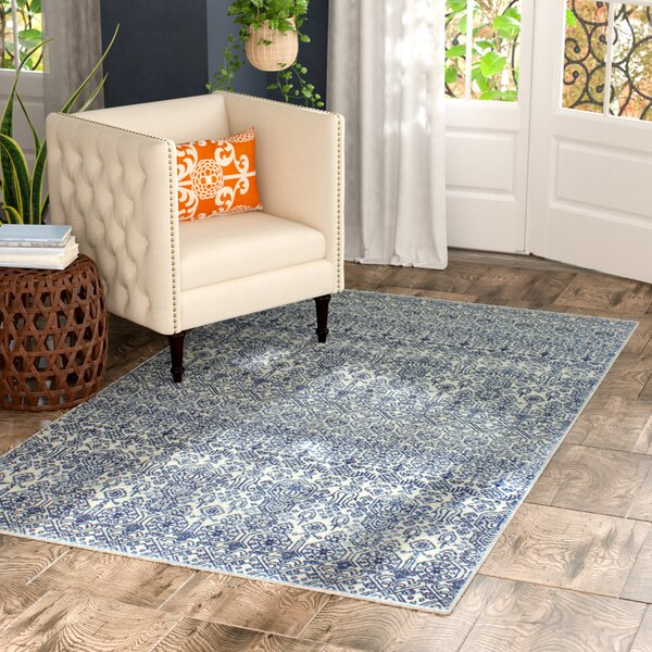 Fiora Ivory/Blue Area Rug by Bungalow Rose