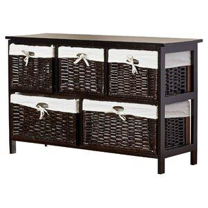Stellan Five Wicker Basket Storage Unit in Espresso