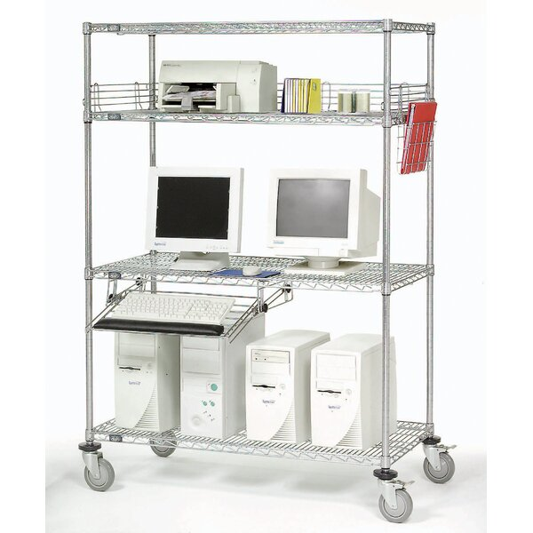 Complete Mobile Adjustable Computer Workcenter AV Cart by Nexel
