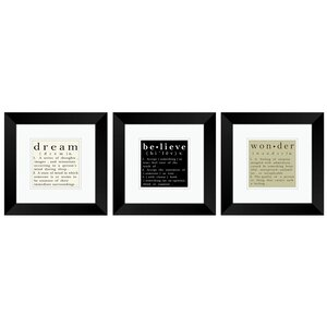 Definition Framed 3 Piece Textual Art Set by PTM